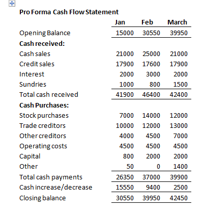Business Financial Plan Cash Flow Statemtent